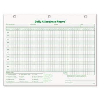Janitorial Superstore TOPS™ Daily Attendance Card, 8 1/2 x 11, 50 Forms - Janitorial Superstore