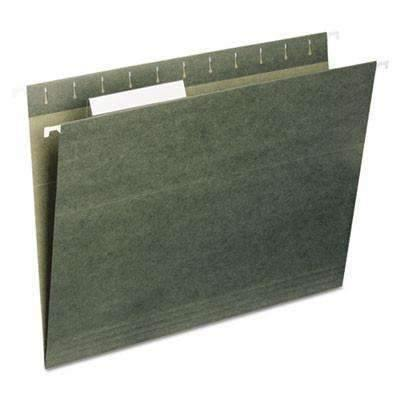 Janitorial SuperstoreReinforced Recycled Hanging Folder, 1/5 Cut, Letter, Standard Green, 25/Box