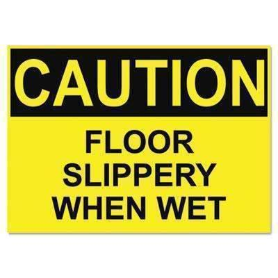 Janitorial SuperstoreHeadline® Sign OSHA Safety Signs, CAUTION SLIPPERY WHEN WET, Yellow/Black, 10 x 14