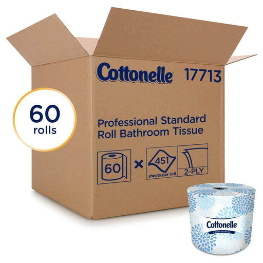 Kimberly-Clark Cottonelle 17713 Professional Bathroom Tissue, 2-Ply, 451 Sheets/Roll, 60 Rolls/Carton - Janitorial Superstore