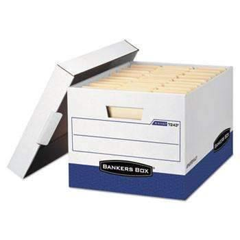 Janitorial SuperstoreBankers Box® R-KIVE Max Storage Box, Letter/Legal, Locking Lid, White/Blue, 12/Carton