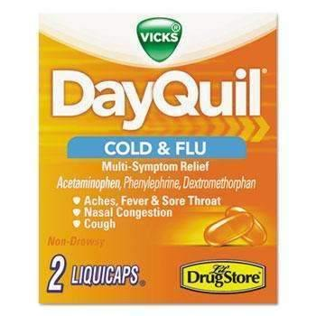 Janitorial SuperstoreDayQuil® Cold & Flu Caplets, Daytime, Refill, 20 Two-Packs/Box