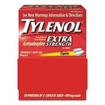 Tylenol® Extra Strength Caplets, Two-Pack, 50 Packs/Box (11808867212)