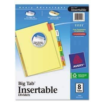 Janitorial Superstore Avery® Insertable Big Tab Dividers, 8-Tab, Letter - Janitorial Superstore