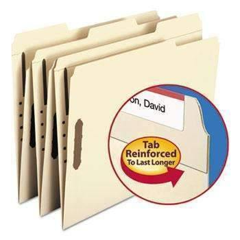 Janitorial SuperstoreSmead® Folders, Two Fasteners, 1/3 Cut Assorted Top Tabs, Letter, Manila, 50/Box