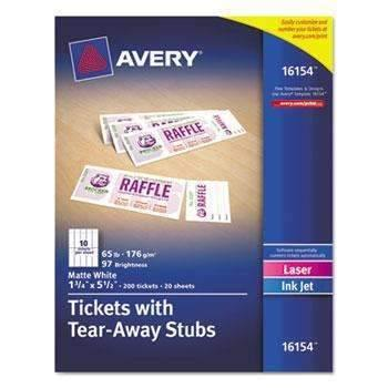 Janitorial SuperstoreAvery® Printable Tickets w/Tear-Away Stubs, 8 1/2 x 11, White, 10/Sheet, 20Sheets/Pack
