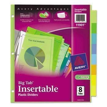 Janitorial Superstore Avery® Insertable Big Tab Plastic Dividers, 8-Tab, Letter - Janitorial Superstore