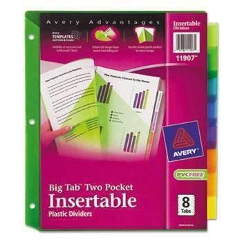 Janitorial Superstore Avery® Insertable Big Tab Plastic Dividers w/Double Pockets, 8-Tab, 11 x 9 - Janitorial Superstore