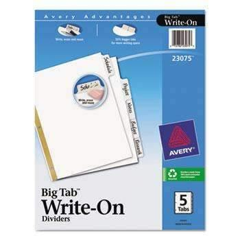 Janitorial Superstore Avery® Write & Erase Big Tab Paper Dividers, 5-Tab, Letter - Janitorial Superstore
