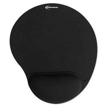 Janitorial Superstore Innovera® Mouse Pad w/Gel Wrist Pad, Nonskid Base, 10-3/8 x 8-7/8, Black - Janitorial Superstore