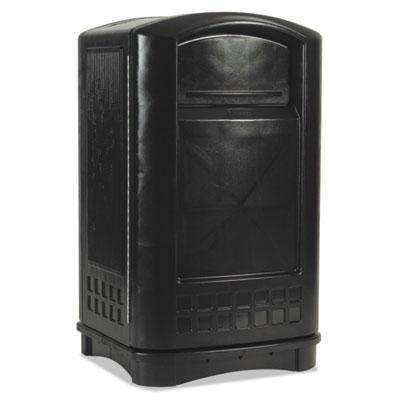Janitorial SuperstoreRUBBERMAID COMMERCIAL PROD. Plaza Indoor/Outdoor Waste Container, Rectangular, Plastic, 50 gal, Black