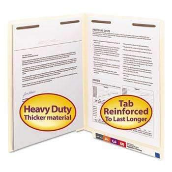 Janitorial Superstore Smead® Heavyweight Folders, Two Fasteners, End Tab, Letter, 14 Point Manila, 50/Box - Janitorial Superstore