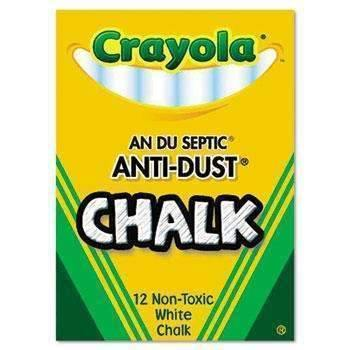 Janitorial SuperstoreCrayola® Nontoxic Anti-Dust Chalk, White, 12 Sticks/Box