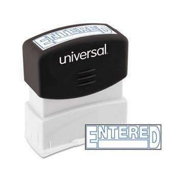 Janitorial SuperstoreUniversal® Message Stamp, ENTERED, Pre-Inked One-Color, Blue