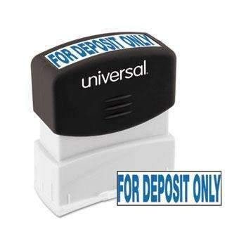 Janitorial SuperstoreUniversal® Message Stamp, for DEPOSIT ONLY, Pre-Inked One-Color, Blue