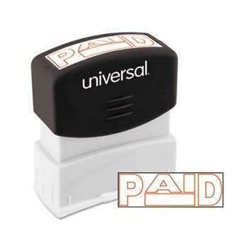 Janitorial SuperstoreUniversal® Message Stamp, PAID, Pre-Inked One-Color, Red