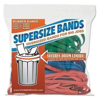 "Janitorial Superstore Alliance® SuperSz. Rubber Bands, 12"" Red, 14"" Green, 17"" Blue, 1/4""w, 24/Pack - Janitorial Superstore"