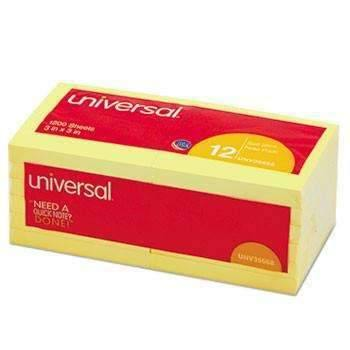 Janitorial Superstore Universal® Standard Self-Stick Notes, 3 x 3, Yellow, 100-Sheet, 12/Pack - Janitorial Superstore