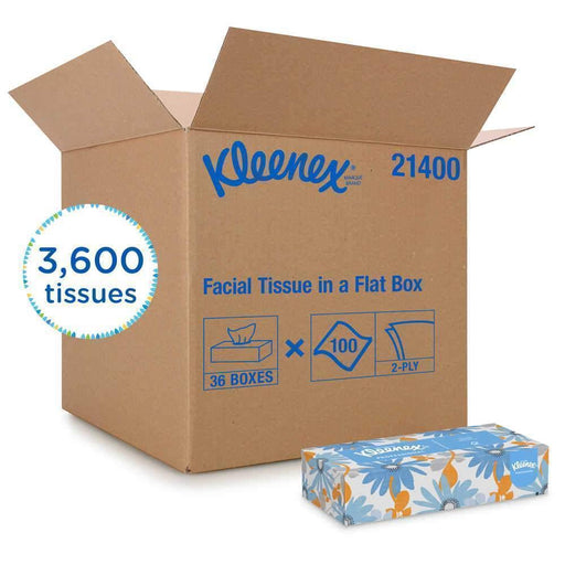 KleenexKleenex 21400 Facial Tissue, 2-Ply White Facial Tissue, Flat Box, 36 Case