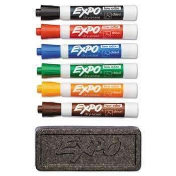 Janitorial Superstore EXPO® Dry Erase Marker & Organizer Kit, Chisel Tip, Assorted, 6/Set - Janitorial Superstore