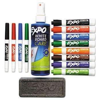 Janitorial Superstore EXPO® Low-Odor Dry Erase Marker, Eraser & Cleaner, Chisel/Fine, 12/Set - Janitorial Superstore