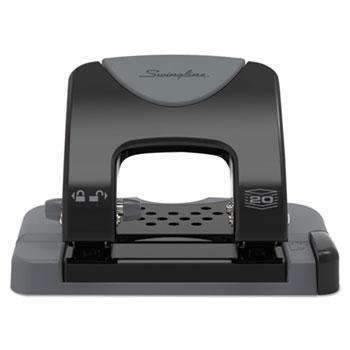 "Janitorial Superstore Swingline® 20-Sheet SmartTouch Two-Hole Punch, 9/32"" Holes, Black/Gray - Janitorial Superstore"