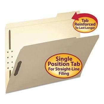 Janitorial SuperstoreSmead® Folder, Two Fasteners, 1/3 Cut Third Position, Top Tab, Letter, Manila, 50/Box