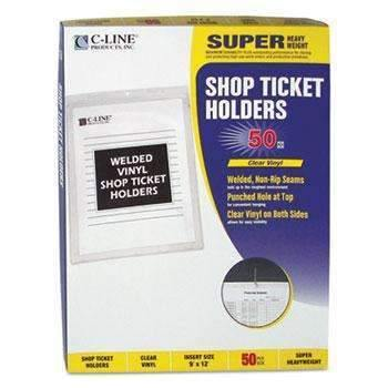 Janitorial SuperstoreC-Line® Clear Vinyl Shop Ticket Holder, Both Sides Clear, 50, 9 x 12, 50/BX
