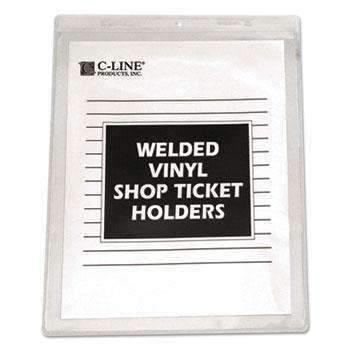 "C-Line® Clear Vinyl Shop Ticket Holder, Both Sides Clear, 15"", 8 1/2 x 11, 50/BX"