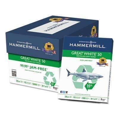Hammermill® Great White 50 Recycled Copy Paper, 20-lb., 8-1/2 x 11, White, 5000/Carton Item: HAM86780 (11017021260)