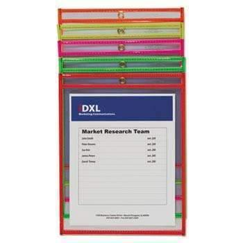 "Janitorial Superstore C-Line® Stitched Shop Ticket Holder, Neon, Assorted 5 Colors, 75"", 9 x 12, 25/BX - Janitorial Superstore"