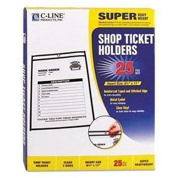 Janitorial SuperstoreC-Line® Shop Ticket Holders, Stitched, Both Sides Clear, 50, 8 1/2 x 11, 25/BX