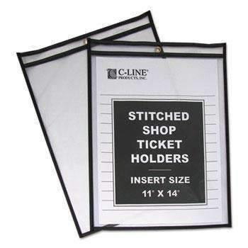 "C-Line® Shop Ticket Holders, Stitched, Both Sides Clear, 75"", 11 x 14, 25/BX"