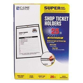 "C-Line® Shop Ticket Holders, Stitched, Both Sides Clear, 75"", 9 x 12, 25/BX"
