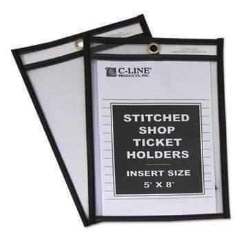 Janitorial SuperstoreC-Line® Shop Ticket Holders, Stitched, Both Sides Clear, 25, 5 x 8, 25/BX