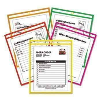 Janitorial SuperstoreC-Line® Stitched Shop Ticket Holder, Neon, Assorted 5 Colors, 75, 9 x 12, 25/BX