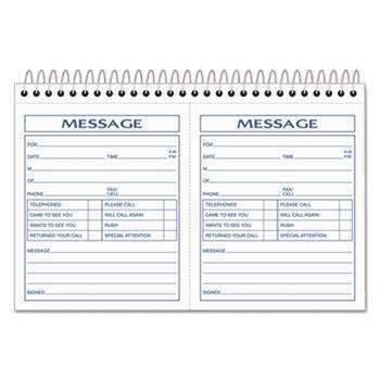 Janitorial SuperstoreTOPS™ Spiralbound Message Book, 4 1/4 x 5, Carbonless Duplicate, 200 Sets/Book