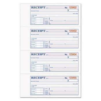 Janitorial SuperstoreTOPS™ Money/Rent Receipt Books, 2-3/4 x 7 1/8, Three-Part Carbonless, 100 Sets/Book