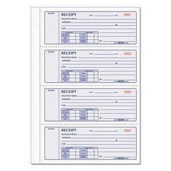 Janitorial SuperstoreRediform® Receipt Book, 2 3/4 x 7, Triplicate with Carbons, 200 Sets/Book
