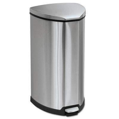 Stainless Step-On Waste Receptacle, 10-Gallon, Stainless Steel
