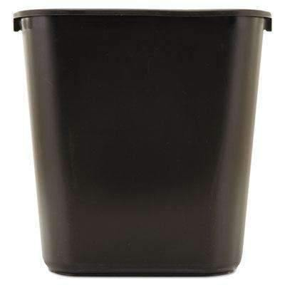 Janitorial Superstore RUBBERMAID COMMERCIAL PROD. Deskside Plastic Wastebasket, Rectangular, 7 gal, Black - Janitorial Superstore