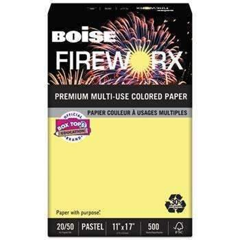 Janitorial SuperstoreBoise® FIREWORX Colored Paper, 20lb, 11 x 17, Crackling Canary, 500 Sheets/Ream