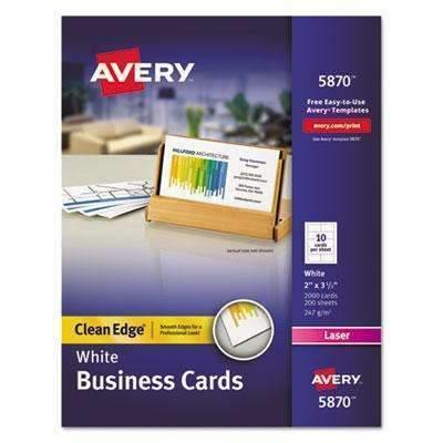 Janitorial Superstore AVERY-DENNISON Clean Edge Business Card Value Pack, Laser, 2 x 3 1/2, White, 2000/Box - Janitorial Superstore
