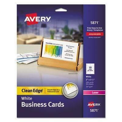 Janitorial Superstore AVERY-DENNISON Clean Edge Business Cards, Laser, 2 x 3 1/2, White, 200/Pack - Janitorial Superstore
