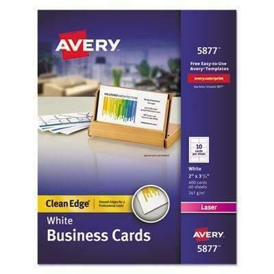 Janitorial Superstore AVERY-DENNISON Clean Edge Business Cards, Laser, 2 x 3 1/2, White, 400/Box - Janitorial Superstore