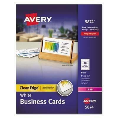 Janitorial Superstore AVERY-DENNISON Clean Edge Business Cards, Laser, 2 x 3 1/2, White, 1000/Box - Janitorial Superstore