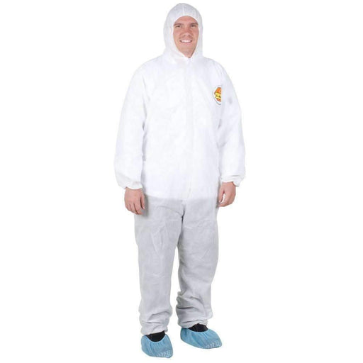 Janitorial Superstore Premium White Disposable Polypropylene Coveralls with Hood - Large - Janitorial Superstore