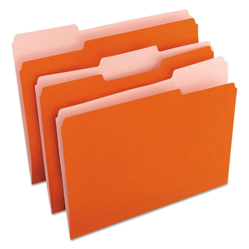 Universal Products Universal Products Deluxe Colored Top Tab File Folders, 1/3-Cut Tabs, Letter Size, Orange/Light Orange, 100/Box - Janitorial Superstore