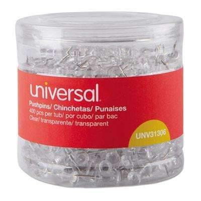 "Janitorial Superstore Universal Office Products Clear Push Pins, Plastic, 3/8"", 400/Pack - Janitorial Superstore"