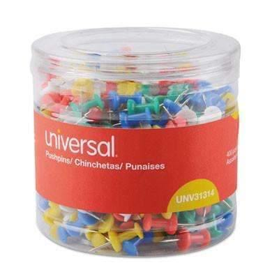 "Janitorial Superstore Universal Office Products Colored Push Pins, Plastic, Assorted, 3/8"", 400/Pack - Janitorial Superstore"